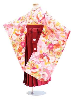 女児袴(7女)057ピンク/花・もみじ|エンジ/花・うさぎ 式部浪漫
