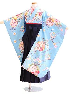 女児袴(7女)046水色/花|紺/桜