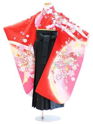 女児袴(7女)052赤/花・鞠|緑/刺繍・桜