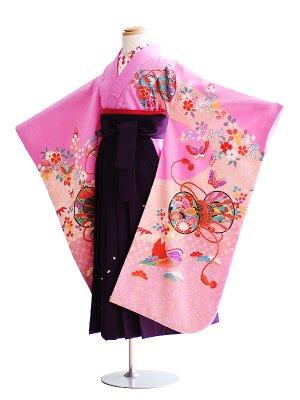 女児袴(7女)005紫/鼓|紫/刺繍・桜