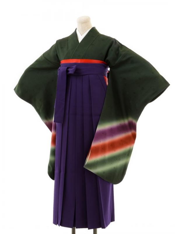 正絹女袴s136虹深緑/紫無地袴