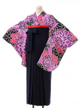 女袴s167京かいらし紫/紺無地袴