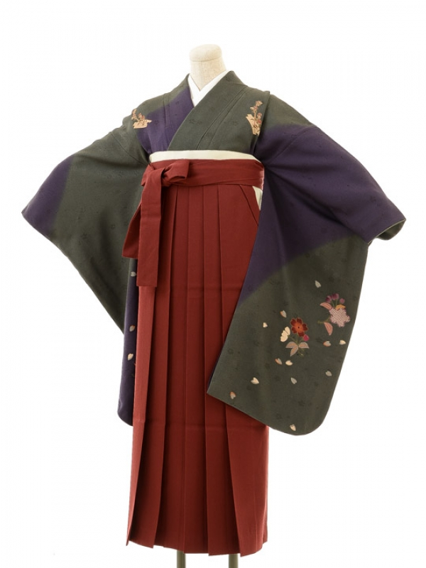 正絹女袴s128濃紫×濃青緑地に花/エンジ無地