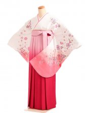 女袴s176白地に舞華/ピンクぼかし袴