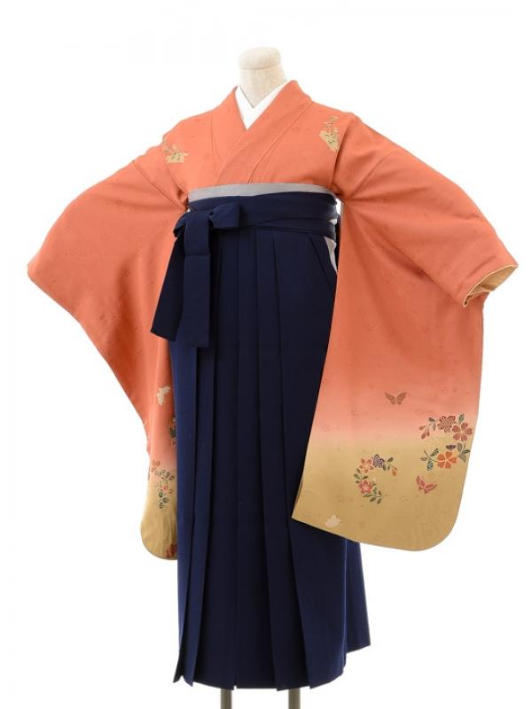 正絹女袴s125サーモンピンク地に華蝶/紺無地袴