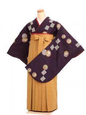 女袴s036深紫地に雪輪とウサギ/鬱金無地
