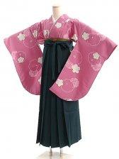 女袴s017ピンク地に桜/緑無地