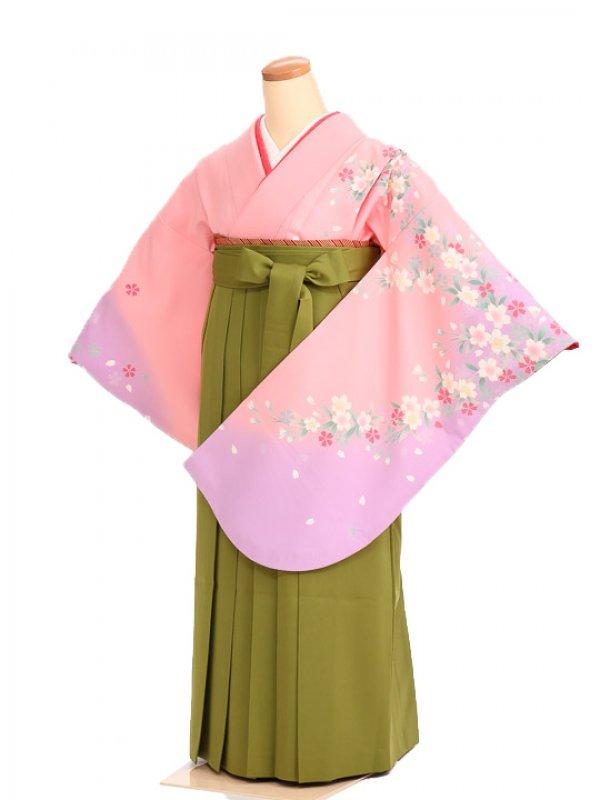 女袴s030ピンク地に花/黄緑無地