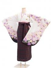 女袴s060白地に花尽くし/タータンチェック