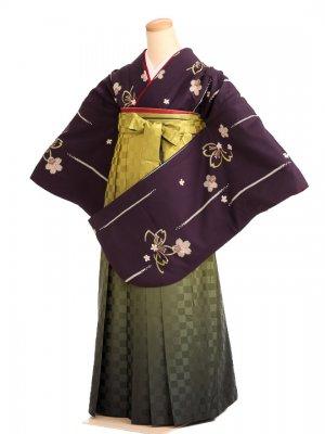 女袴s035深紫地に鹿の子桜/市松グリーンぼかし