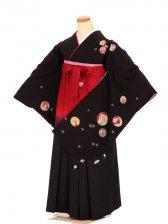 女袴s023黒地に水玉と小花/エンジ緑ぼかし