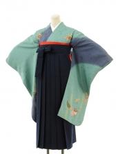 正絹女袴s135青緑地に花散らし/紺無地袴