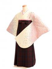 女袴s032クリーム地に姫桜/タータンチェック