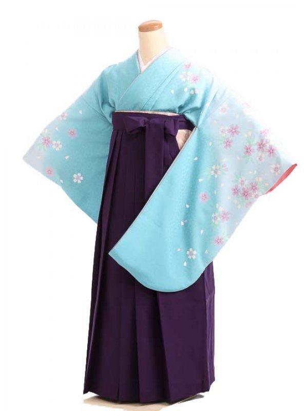 女袴s175水色地に桜/紫無地袴