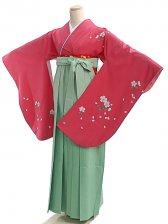 女袴s024ピンク地に桜/ヒワ色無地