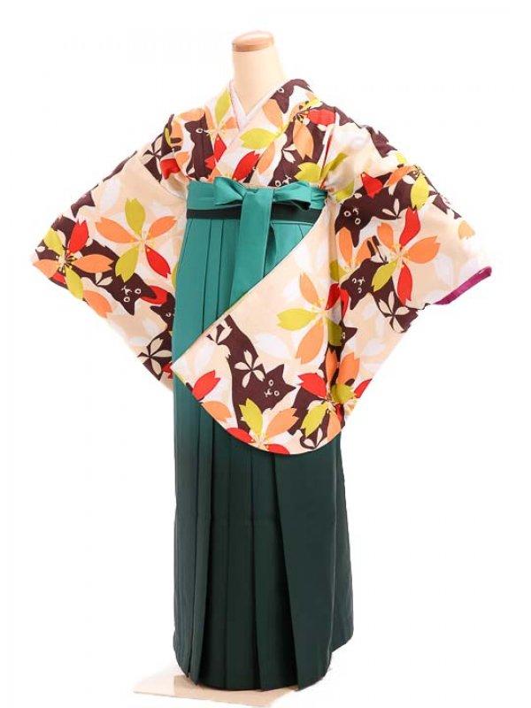 女袴s178クリーム色地に想花/緑ぼかし袴