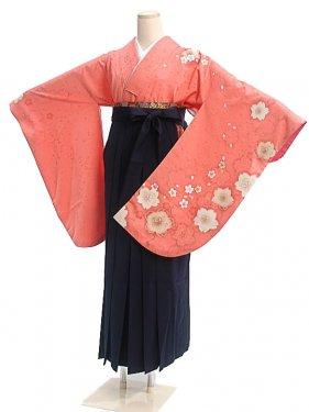 女袴s025オレンジ地に桜/紺無地