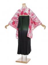 女袴s013白地にピンク花柄/緑紺ぼかし