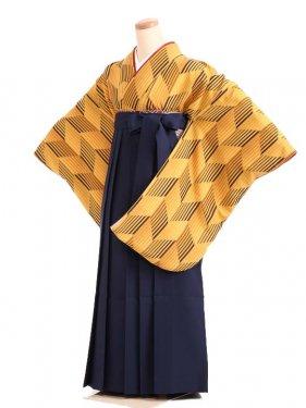 女袴s179黄色地に矢絣/紺無地袴
