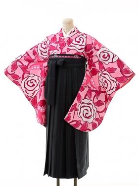 女袴s152京かいらしピンク/紺×緑ストライプ袴
