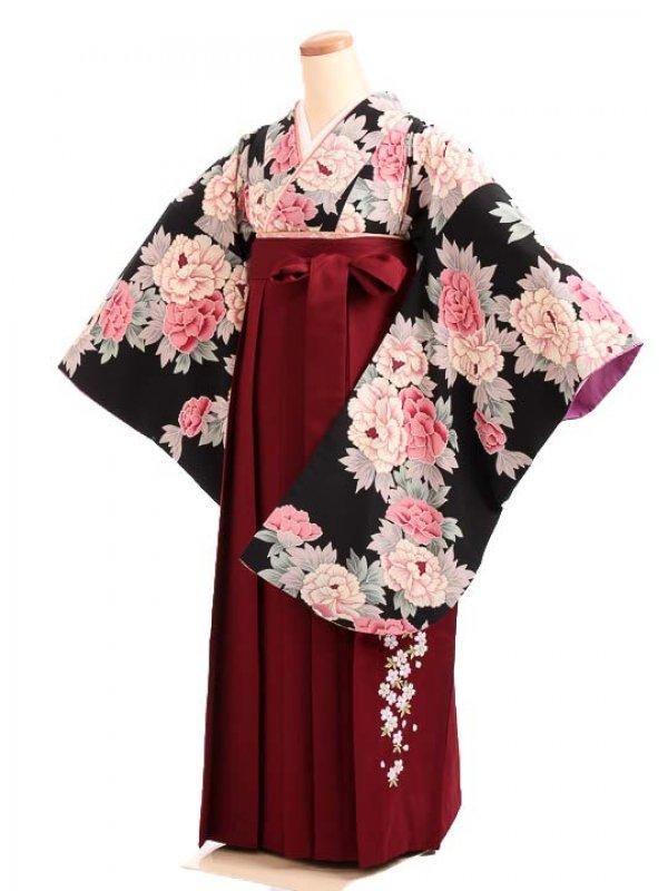 女袴s168黒地に加賀牡丹/エンジ桜刺繍入袴