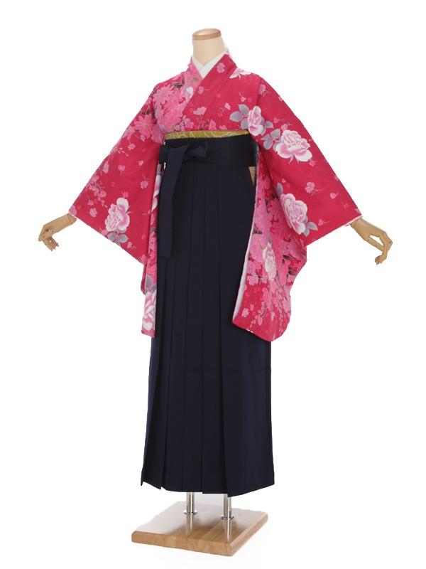 女袴s015濃ピンク地に花/紺無地