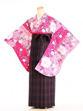 女袴s082ピンク地に牡丹桜/タータンチェック
