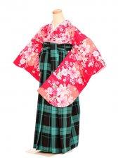 女袴s056濃ピンク地にユリ雪輪/緑×茶タータンチェック