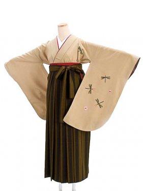 女袴s062ベージュ地にトンボ蝶/鶯茶×紺ストライプ