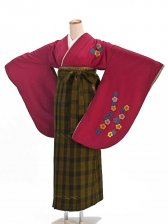 女袴s061赤地に梅刺繍/鶯茶×紺タータンチェック