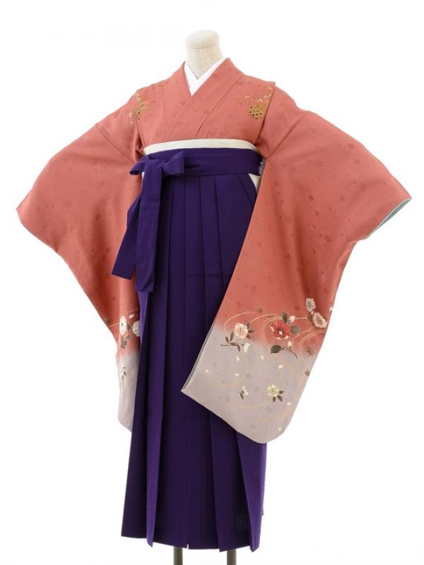 正絹女袴s132くすんだピンク地に桜/紫無地袴