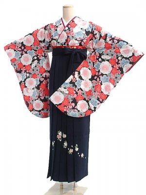 女袴s021黒地に花づくし/紺花柄