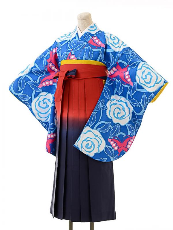 女袴s154京かいらし青/エンジぼかし袴