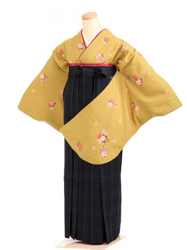 女袴s043緑黄地に花うさぎ/紺×緑タータンチェック