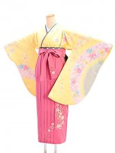 女袴s063黄色地に花流し/チェリーピンク桜蝶