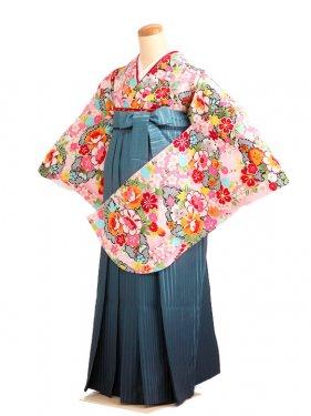 女袴s053ピンク地に桃かのこ/青緑ぼかし