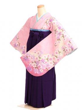 女袴s009ピンク地に花/紫無地