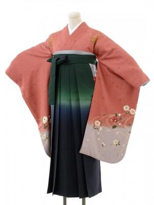 正絹女袴s131くすんだピンク地に桜/グリーンボカシ