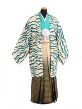 卒業式成人式袴レンタル205ブルー虎柄×黒金ぼか
