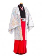 卒業式成人式袴男レンタル061*6/シルバー/赤袴
