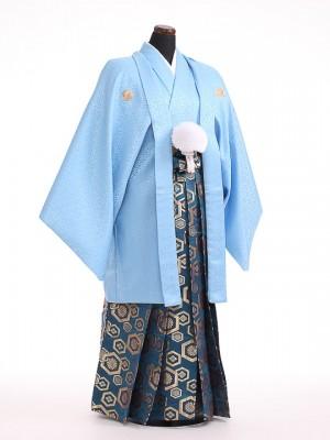卒業式成人式袴男レンタル098*5/水色紋付/亀甲