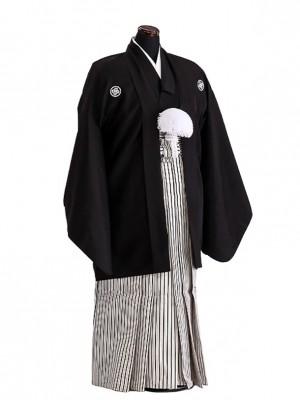 卒業式成人式袴男レンタル075*2/黒紋付/黒銀縞