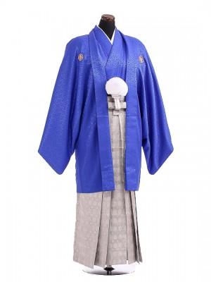 卒業式成人式袴男レンタル112*5/青紋付竜/シルバー