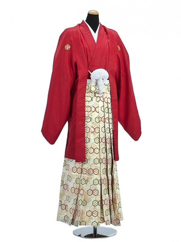 卒業式成人式袴男レンタル014*6/赤紋付/亀甲紋