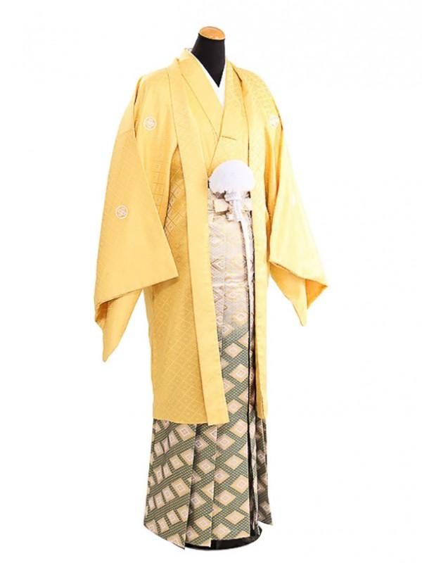 卒業式成人式袴男レンタル081*8/黄色/緑菱ボカシ