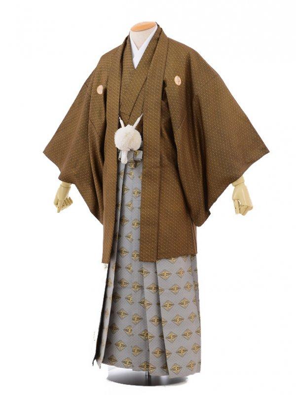 卒業式成人式袴レンタル141黒金紗菱形×グレー袴