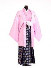 卒業式成人式袴男レンタル101*7/ピンク/紺亀甲紋