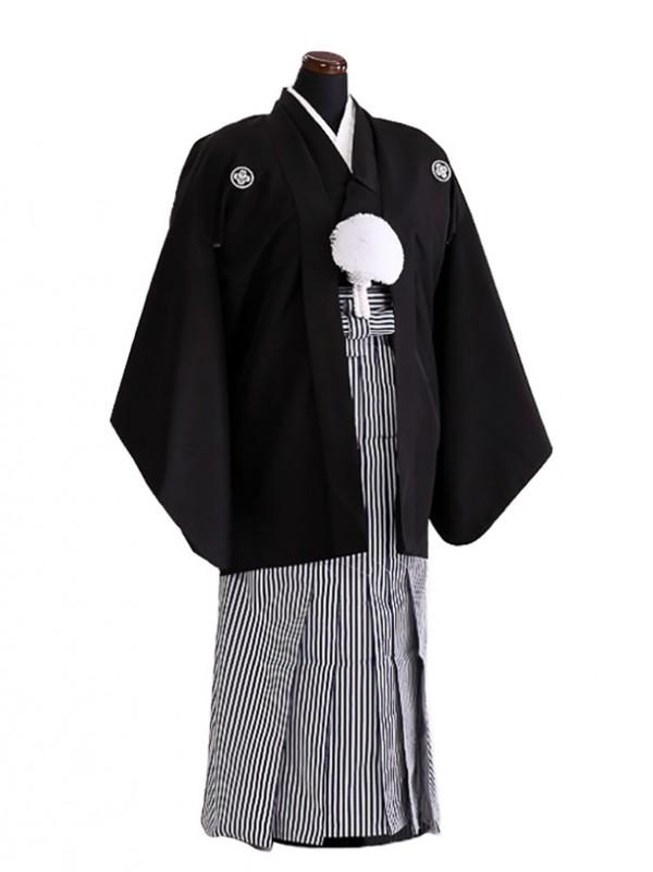 卒業式成人式袴男レンタル076*2/黒紋付/紺縞袴
