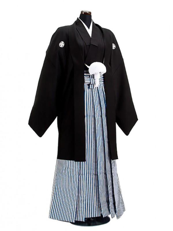 卒業式成人式袴男レンタル042*9/黒/黒青銀縦縞