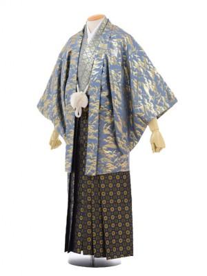 卒業式成人式袴レンタル173グレーゴールド紋付×紺